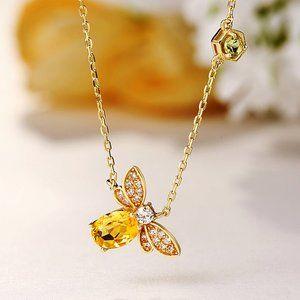 Jewelry - NEW 18K Yellow Gold Diamond Citrine Bee Necklace